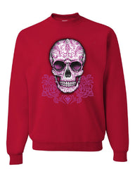 Pink Sugar Skull With Roses Sweatshirt Calavera Day of The Dead - Tee Hunt - 4