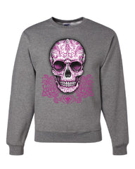 Pink Sugar Skull With Roses Sweatshirt Calavera Day of The Dead - Tee Hunt - 6