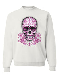 Pink Sugar Skull With Roses Sweatshirt Calavera Day of The Dead - Tee Hunt - 7