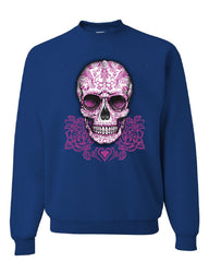 Pink Sugar Skull With Roses Sweatshirt Calavera Day of The Dead - Tee Hunt - 5