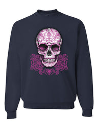 Pink Sugar Skull With Roses Sweatshirt Calavera Day of The Dead - Tee Hunt - 8