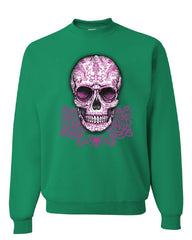 Pink Sugar Skull With Roses Sweatshirt Calavera Day of The Dead - Tee Hunt - 3