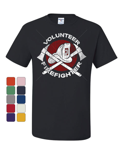 Volunteer Firefighter T-Shirt Helmet Fire Rescue Hero Tee Shirt