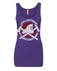 Volunteer Firefighter Women's Tank Top Helmet Fire Rescue Hero Top