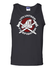 Volunteer Firefighter Tank Top Helmet Fire Rescue Hero Muscle Shirt