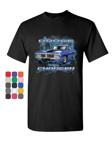 1971 Blue Dodge Charger T-Shirt Classic Muscle Car Lightning Mens Tee Shirt
