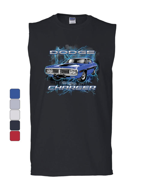 1971 Blue Dodge Charger Muscle Shirt Classic Muscle Car Lightning Sleeveless