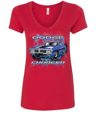 1971 Blue Dodge Charger Women's V-Neck T-Shirt Classic Muscle Car Lightning