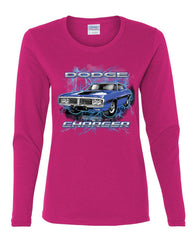 1971 Blue Dodge Charger Women's Long Sleeve Tee Classic Muscle Car Lightning