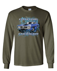1971 Blue Dodge Charger Long Sleeve T-Shirt Classic Muscle Car Lightning Tee