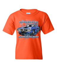 1971 Blue Dodge Charger Youth T-Shirt Classic Muscle Car Lightning Kids Tee