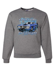1971 Blue Dodge Charger Sweatshirt Classic Muscle Car Lightning Sweater