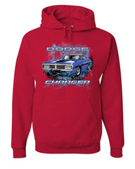 1971 Blue Dodge Charger Hoodie Classic Muscle Car Lightning Sweatshirt
