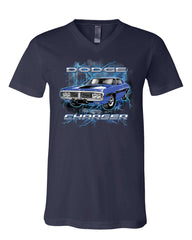 1971 Blue Dodge Charger V-Neck T-Shirt Classic Muscle Car Lightning Tee
