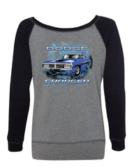 1971 Blue Dodge Charger Women's Sweatshirt Classic Muscle Car Lightning