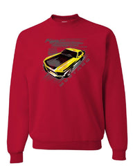 Ford Mustang Yellow Boss 302 Sweatshirt Vintage American Muscle Car Sweater