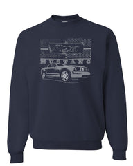 Ford Honeycomb Grille Sweatshirt Mustang Silhouette US Muscle Car Sweater