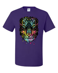 Neon Dripping Tiger Face T-Shirt Wildlife Rave Music Tee Shirt - Tee Hunt - 9