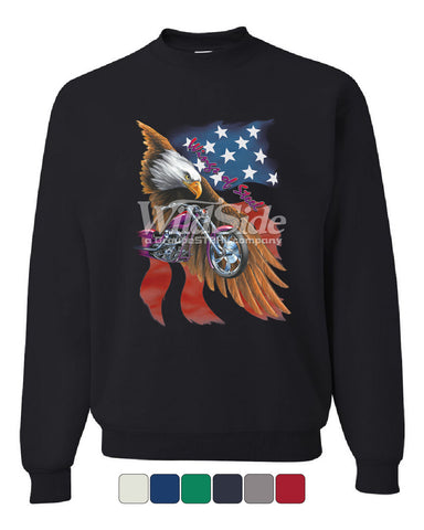 Wings of Steel Crew Neck Sweatshirt Route 66 Biker Flag Bald Eagle - Tee Hunt - 1
