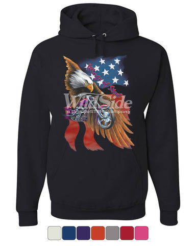 Wings of Steel Hoodie Route 66 Biker Flag Bald Eagle Sweatshirt - Tee Hunt - 1