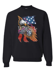 Wings of Steel Crew Neck Sweatshirt Route 66 Biker Flag Bald Eagle - Tee Hunt - 2