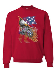 Wings of Steel Crew Neck Sweatshirt Route 66 Biker Flag Bald Eagle - Tee Hunt - 4