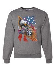 Wings of Steel Crew Neck Sweatshirt Route 66 Biker Flag Bald Eagle - Tee Hunt - 6