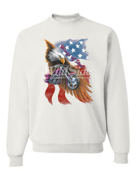 Wings of Steel Crew Neck Sweatshirt Route 66 Biker Flag Bald Eagle - Tee Hunt - 7