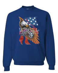 Wings of Steel Crew Neck Sweatshirt Route 66 Biker Flag Bald Eagle - Tee Hunt - 5