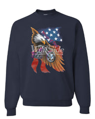 Wings of Steel Crew Neck Sweatshirt Route 66 Biker Flag Bald Eagle - Tee Hunt - 8