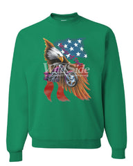 Wings of Steel Crew Neck Sweatshirt Route 66 Biker Flag Bald Eagle - Tee Hunt - 3