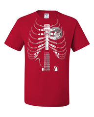 Amped Up T-Shirt Music Guitar Skeleton Rib Cage Rock Star Tee Shirt