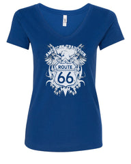 Route 66 American Tradition V-Neck T-Shirt Biker Motorcycle