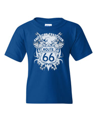 Route 66 American Tradition Youth T-Shirt Biker Motorcycle Tee Shirt