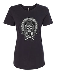 Indian Headdress Skull T-Shirt Native American Heritage Tee Shirt