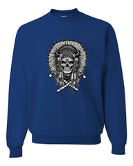 Indian Headdress Skull Crew Neck Sweatshirt Native American Heritage