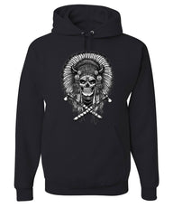 Indian Headdress Skull Hoodie Native American Heritage Sweatshirt
