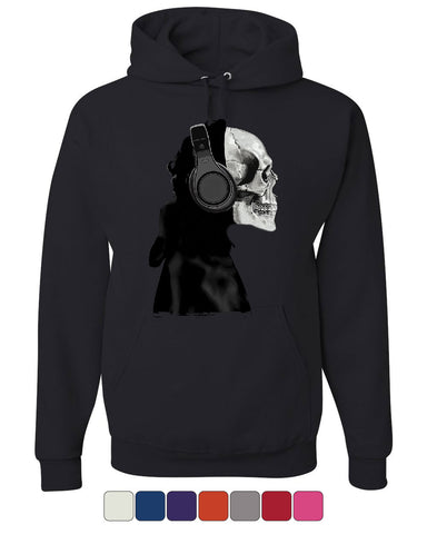 Skeleton in Headphones Hoodie DJ Music Skull Sweatshirt - Tee Hunt - 1