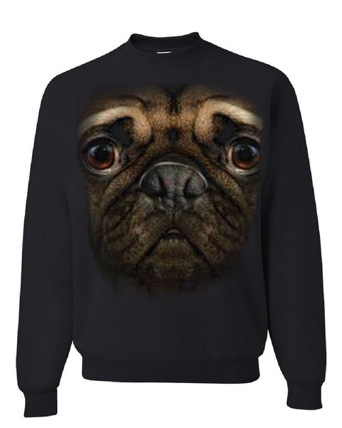 Pug Face Crew Neck Sweatshirt Funny Pet Dog - Tee Hunt - 1