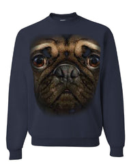 Pug Face Crew Neck Sweatshirt Funny Pet Dog - Tee Hunt - 2