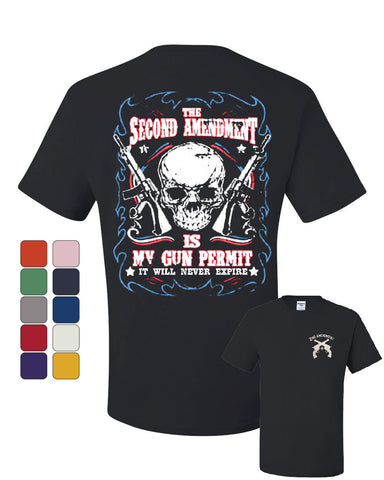 2nd Amendment Is My Gun Permit T-Shirt Gun Rights Tee Shirt - Tee Hunt - 1
