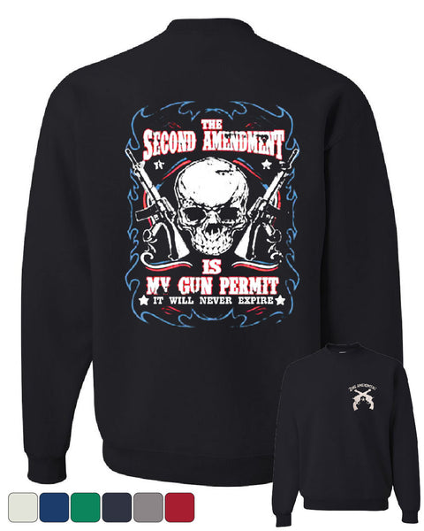 2nd Amendment Is My Gun Permit Crew Neck Sweatshirt Gun Rights - Tee Hunt - 1