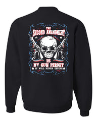 2nd Amendment Is My Gun Permit Crew Neck Sweatshirt Gun Rights - Tee Hunt - 2