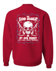 2nd Amendment Is My Gun Permit Crew Neck Sweatshirt Gun Rights - Tee Hunt - 4