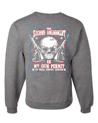 2nd Amendment Is My Gun Permit Crew Neck Sweatshirt Gun Rights - Tee Hunt - 6