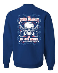 2nd Amendment Is My Gun Permit Crew Neck Sweatshirt Gun Rights - Tee Hunt - 5
