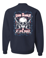 2nd Amendment Is My Gun Permit Crew Neck Sweatshirt Gun Rights - Tee Hunt - 7