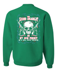 2nd Amendment Is My Gun Permit Crew Neck Sweatshirt Gun Rights - Tee Hunt - 3