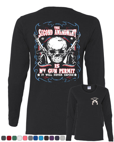 2nd Amendment Is My Gun Permit Long Sleeve T-Shirt Gun Rights - Tee Hunt - 1