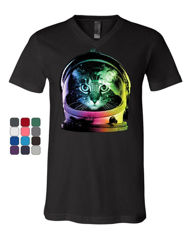 Space Cat V-Neck T-Shirt Astronaut Kitten Neon Galaxy Tee - Tee Hunt - 1